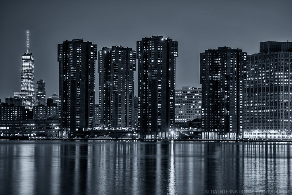 One World Trade Center (left) & Waterside Plaza Apartments (monochrome)
