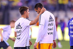 September 11, 2018 - East Rutherford, NJ, U.S. - EAST RUTHERFORD, NJ - SEPTEMBER 11:  Argentina goalkeeper Sergio Romero (1) and Argentina forward Paulo Dybala (21) prior to the International Friendly Soccer game between Argentina and Colombia on September 11, 2018 at MetLife Stadium in East Rutherford, NJ.   (Photo by Rich Graessle/Icon Sportswire) (Credit Image: © Rich Graessle/Icon SMI via ZUMA Press)