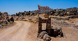 The sign at the top of the Tizi N'Tazezert pass in the Atlas Mountains, Morocco - altiitude 2,300 meters<br /> <br /> (c) Andrew Wilson | Edinburgh Elite media
