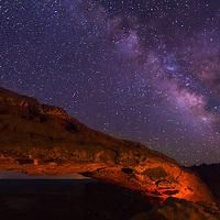 Milky Way visible over Mesa Arch in Canyonlands National Park Utah.
