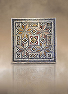 Roman mosaics - Geometric Mosaic. House of Okeanos, Ancient Zeugama, 2nd - 3rd century AD . Zeugma Mosaic Museum, Gaziantep, Turkey.   Against an art background. .<br /> <br /> If you prefer to buy from our ALAMY PHOTO LIBRARY  Collection visit : https://www.alamy.com/portfolio/paul-williams-funkystock/roman-mosaic.html - Type -   Zeugma   - into the LOWER SEARCH WITHIN GALLERY box. Refine search by adding background colour, place, museum etc<br /> <br /> Visit our ROMAN MOSAIC PHOTO COLLECTIONS for more photos to download  as wall art prints https://funkystock.photoshelter.com/gallery-collection/Roman-Mosaics-Art-Pictures-Images/C0000LcfNel7FpLI