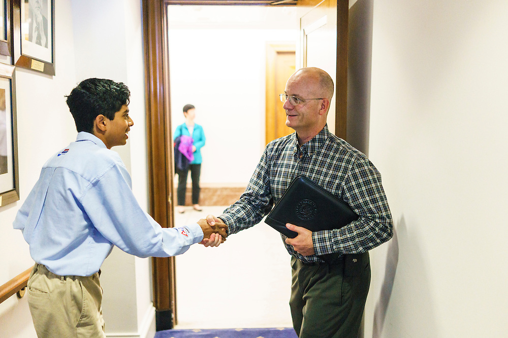 Washington, D.C. - October 07, 2016: Hyperbolics member Rohit Rajagopalan shakes hands with Environment and Public Works Committee Staff member Tom Fox before the group presents the dangers of lead wheel weights to him in the Hart Senate Office Building. <br /> <br /> The Hyperbolics are a First Lego League team based out of Sterling School in Greenville SC, who made a trip to DC ask government officials to ban lead wheel weights Friday October 7, 2016.<br /> <br /> <br /> CREDIT: Matt Roth for Earthjustice
