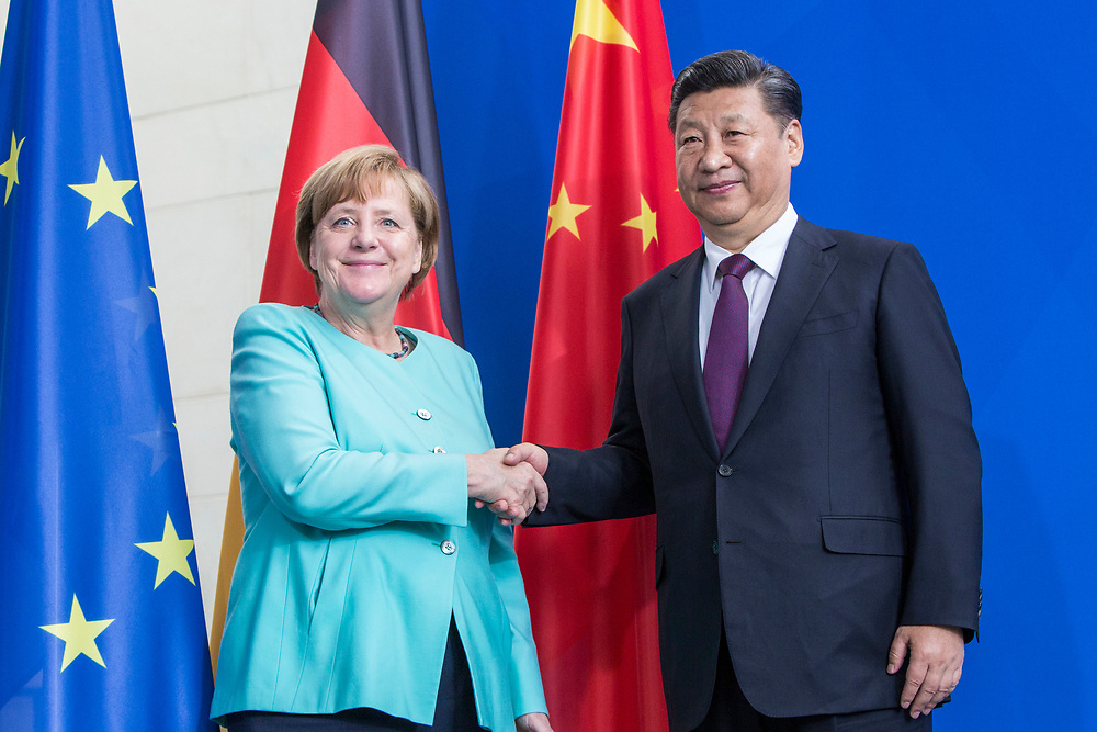 German Chancellor Angela Merkel and The President of The People's Republic of China Xi Jinping are seen during a Joint press conference in the Chancellery in Berlin, on July 5 2017.<br /> (Photo by Omer Messinger)