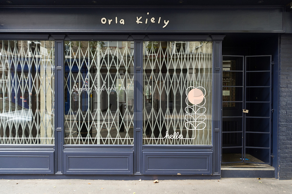 © Licensed to London News Pictures. 19/09/2018. London, UK.  A closed Covent Garden store as Orla Kiely £8 million retail empire collapses. It was reported the company ceased trading earlier this week with immediate job losses and unpaid staff wages. Photo credit: Ray Tang/LNP