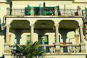 Two large balconies with elegant wrought iron railings. Opatija, Croatia