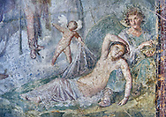 Roman fresco wall painting of Dionysus who, with the aid of a cupid, discovers Ariadne in a deep sleep at the foot of Hypnos, Pompeii VI 14,30, inv 111210, Naples National Archaeological Museum .<br /> <br /> If you prefer to buy from our ALAMY PHOTO LIBRARY  Collection visit : https://www.alamy.com/portfolio/paul-williams-funkystock - Scroll down and type - Roman Fresco Naples  - into LOWER search box. {TIP - Refine search by adding a background colour as well}.<br /> <br /> Visit our ROMAN ART & HISTORIC SITES PHOTO COLLECTIONS for more photos to download or buy as wall art prints https://funkystock.photoshelter.com/gallery-collection/The-Romans-Art-Artefacts-Antiquities-Historic-Sites-Pictures-Images/C0000r2uLJJo9_s0