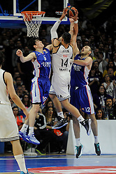 15.04.2015, Palacio de los Deportes stadium, Madrid, ESP, Euroleague Basketball, Real Madrid vs Anadolu Efes Istanbul, Playoffs, im Bild Real Madrid´s Gustavo Ayon and Anadolu Efes´s Cedi Osman and Nenad Krstic // during the Turkish Airlines Euroleague Basketball 1st final match between Real Madrid vand Anadolu Efes Istanbul t the Palacio de los Deportes stadium in Madrid, Spain on 2015/04/15. EXPA Pictures © 2015, PhotoCredit: EXPA/ Alterphotos/ Luis Fernandez<br /> <br /> *****ATTENTION - OUT of ESP, SUI*****
