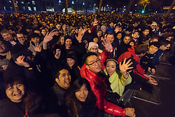 London January 1st 2016. Londoners gather on Victoria embankment waiting to  welcome the new year 2016 with a spectacular fireworks display .