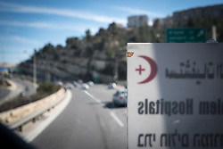 27 February 2020, Jerusalem: The Augusta Victoria Hospital in Jerusalem offers a special bus service in an effort to faciliate access to medical services for patients living in the West Bank. Here, driving into Jerusalem.