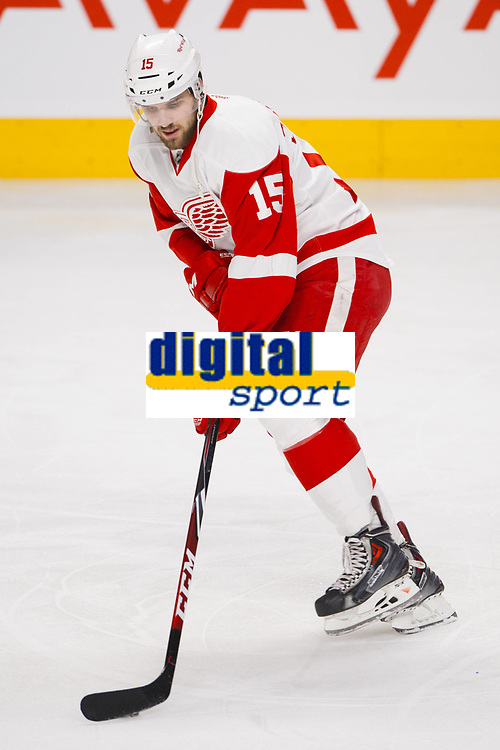 05 April 2014: Riley Sheahan 15 of the Detroit Red Wings skates during the warmup period prior to the NHL Eishockey Herren USA match against the Montreal Canadiens at the Bell Centre in Montreal Quebec, Canada. The Canadiens defeat the Red Wings 5-3. NHL Eishockey Herren USA APR 05 Red Wings at Canadiens <br /> Norway only