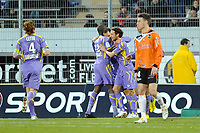 FOOTBALL - FRENCH CHAMPIONSHIP 2009/2010 - L1 - FC LORIENT v TOULOUSE FC - 14/02/2010 - PHOTO PASCAL ALLEE / DPPI - JOY DANIEL OMOYA BRAATEN (TFC) AFTER HIS GOAL / DESPERATE LAURENT KOSCIELNY (FCL)