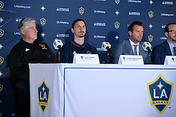 Zlatan Ibrahimovic and head coach Sigi Schmid (left) during a press conference for Los Angeles Galaxy at the StubHub Center on March 30, 2018 in Carson, California