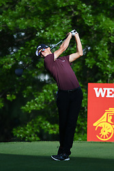 May 2, 2019 - Charlotte, NC, U.S. - CHARLOTTE, NC - MAY 02: Brandon Hagy plays his shot from the 16th tee in round one of the Wells Fargo Championship on March 02, 2019 at Quail Hollow Club in Charlotte,NC. (Photo by Dannie Walls/Icon Sportswire) (Credit Image: © Dannie Walls/Icon SMI via ZUMA Press)