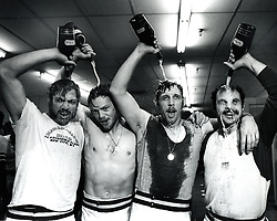 Oakland A's celebrate after winning the World Series<br /> against the  Reds in  1972. L-R Mike Epstein, Dave Duncan, Joe Rudi, and Sal Bando. (photo copyright 1972 Ron Riesterer)