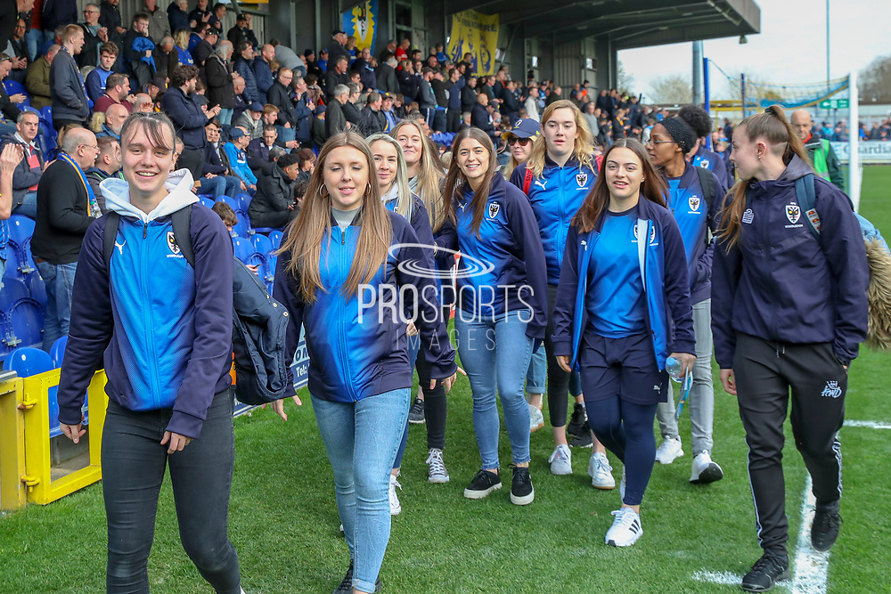 AFC Wimbledon youth team during the EFL Sky Bet League 1 match between AFC Wimbledon and Gillingham at the Cherry Red Records Stadium, Kingston, England on 23 March 2019.