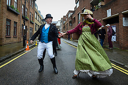 © Licensed to London News Pictures. 23/02/2020. LONDON, UK.  People in period costume dance during an event marking the 200th anniversary of the Cato Street Conspiracy in Marylebone.  On 23 February 1820, 13 plotters were foiled by Bow Street Runners (police of the day) in their attempt to overthrow the government by assassinating Prime Minister Lord Liverpool and his Cabinet ministers.  Photo credit: Stephen Chung/LNP