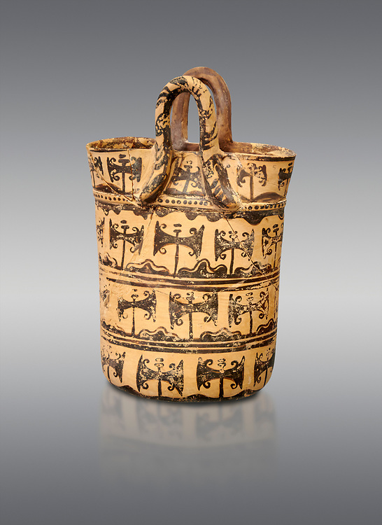 Minoan clay basket shaped vessel with double axes decorations,  Special Palatial Tradition , Pseira  1500-1400 BC BC, Heraklion Archaeological  Museum, grey background. .<br /> <br /> If you prefer to buy from our ALAMY PHOTO LIBRARY  Collection visit : https://www.alamy.com/portfolio/paul-williams-funkystock/minoan-art-artefacts.html . Type -   Heraklion   - into the LOWER SEARCH WITHIN GALLERY box. Refine search by adding background colour, place, museum etc<br /> <br /> Visit our MINOAN ART PHOTO COLLECTIONS for more photos to download  as wall art prints https://funkystock.photoshelter.com/gallery-collection/Ancient-Minoans-Art-Artefacts-Antiquities-Historic-Places-Pictures-Images-of/C0000ricT2SU_M9w