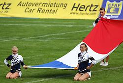 27.07.2010, Wetzlar Stadion, Wetzlar, GER, Football EM 2010, Team France vs Team Great Britain, im Bild Cheerleader mit der franzoesischen Fahne,  EXPA Pictures © 2010, PhotoCredit: EXPA/ T. Haumer