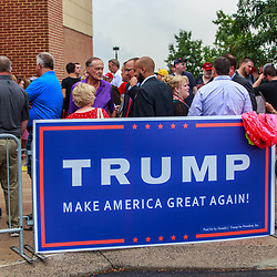 Mechanicsburg, PA – August 1, 2016: Supporters stand outside in line waiting to enter a school building to see Republican presidential candidate Donald J Trump.