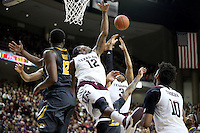 Texas A&M's Jalen Jones (12) knock a rebound away from Missouri's Namon Wright (12) during the second half of an NCAA college basketball game, Saturday, Jan. 23, 2016, in College Station, Texas.  Texas A&M won 66-53.  (AP Photo/Sam Craft)