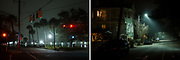 Diptych of Fog descends around Colonial Lake and the surrounding neighborhood in  Charleston, South Carolina on Monday, January 25, 2021.