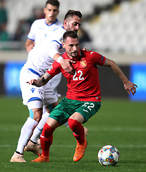NICOSIA, Nov. 17, 2018  Nikolay Dimitrov (front) of Bulgaria breaks through during the UEFA Nations League C group 3 match between Cyprus and Bulgaria in Nicosia, Cyprus, on Nov. 16, 2018. The match ended with 1-1. (Credit Image: © Nikos_savvides/Xinhua via ZUMA Wire)