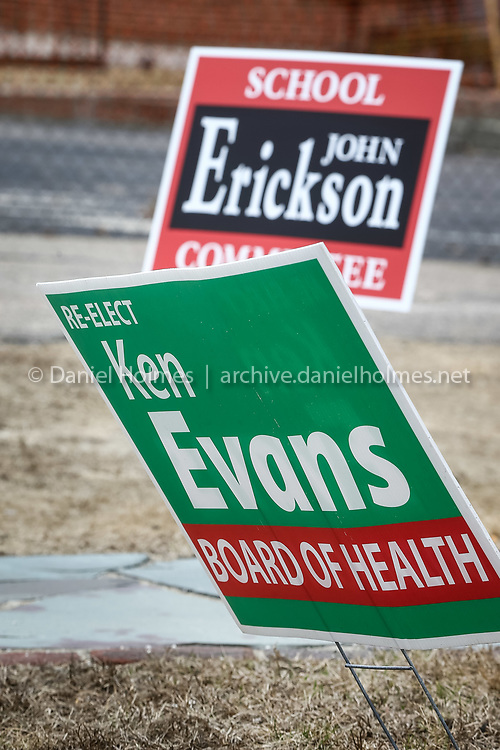 (4/4/15, MILFORD, MA) Lawn signs ahead of Tuesday's election along Congress St. in Milford on Saturday. Daily News and Wicked Local Photo/Dan Holmes