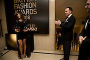 TAMARA MELLON; DAVID FURNISH, British Fashion Awards Ceremony. Supported by Swarovski and organised by British Fashion Council. Lawrence Hall. Greycoat St. London SW1. 25 November 2008 *** Local Caption *** -DO NOT ARCHIVE-© Copyright Photograph by Dafydd Jones. 248 Clapham Rd. London SW9 0PZ. Tel 0207 820 0771. www.dafjones.com.