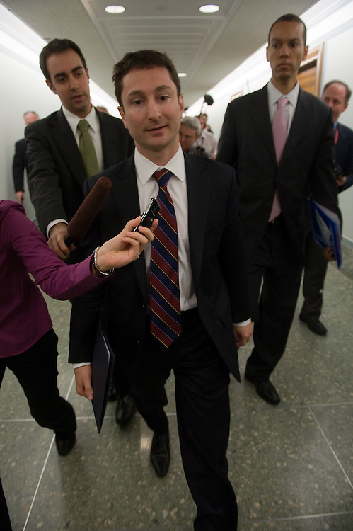 Fabrice Tourre, executive director of structured products group trading with Goldman Sachs Group Inc., is surrounded by reporters after testifying at a Senate Homeland Security and Governmental Affairs subcommittee hearing on Wall Street and the financial crisis in Washington, D.C., U.S., on Tuesday, April 27, 2010.