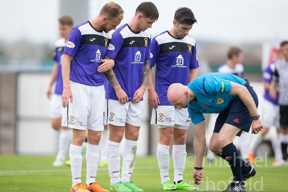 Ref Alan Newlands. <br /> East Fife 2 v 1 Elgin City, Ladbrokes Scottish Football League Division Two game played 22/8/2015 at East Fife's home ground, Bayview Stadium.