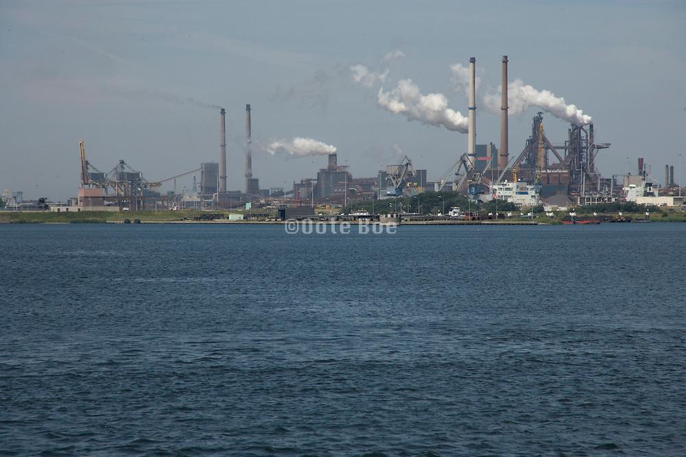 chimneys from the steel mills at IJmuiden Holland
