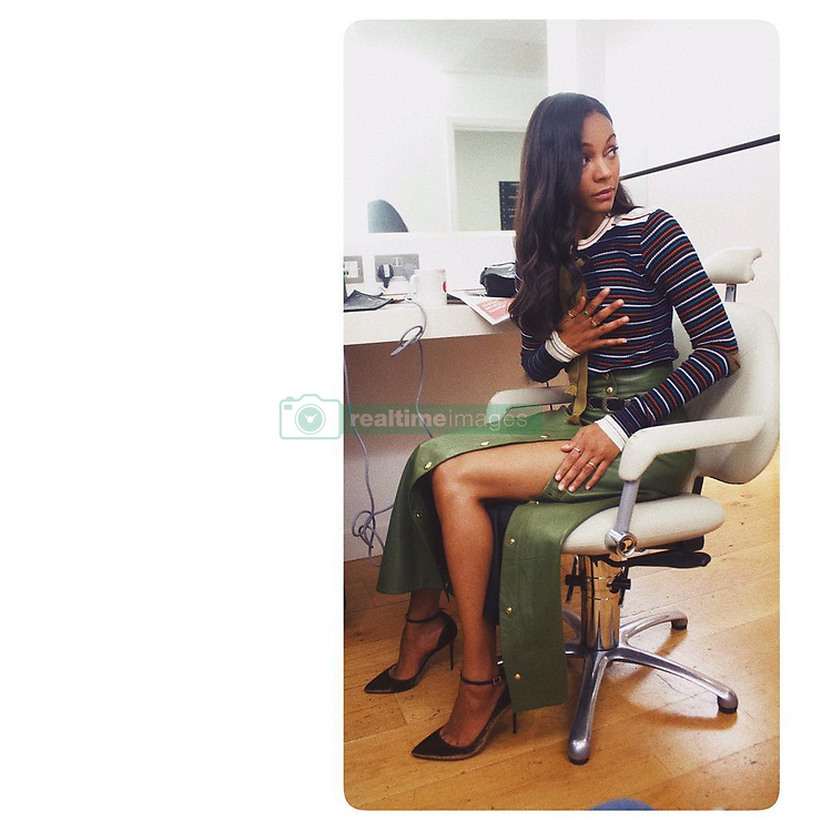 """Zoe Saldana releases a photo on Instagram with the following caption: """"HURRY UP\u2026 and wait! \n#tbt @guardiansofthegalaxy press 2017 LONDON"""". Photo Credit: Instagram *** No USA Distribution *** For Editorial Use Only *** Not to be Published in Books or Photo Books ***  Please note: Fees charged by the agency are for the agency's services only, and do not, nor are they intended to, convey to the user any ownership of Copyright or License in the material. The agency does not claim any ownership including but not limited to Copyright or License in the attached material. By publishing this material you expressly agree to indemnify and to hold the agency and its directors, shareholders and employees harmless from any loss, claims, damages, demands, expenses (including legal fees), or any causes of action or allegation against the agency arising out of or connected in any way with publication of the material."""