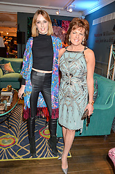 Left to right, LADY ALICE MANNERS and her mother the DUCHESS OF RUTLAND at the Duresta For Matthew Williamson Exclusive Launch At Harrods, Knightsbridge, London on 10th March 2016.