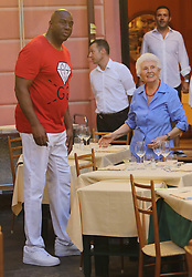 Magic Johnson spotted shopping in Portofino with wife, sons Eravin EJ and Andre, and daughter Elisa. 06 Aug 2017 Pictured: Magic Johnson. Photo credit: MEGA TheMegaAgency.com +1 888 505 6342