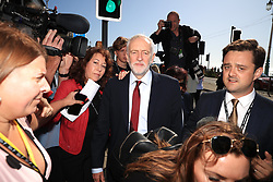 © Licensed to London News Pictures . 21/09/2019. Brighton, UK. JEREMY CORBYN walks along The Promenade ahead of the first day of the conference . The 2019 Labour Party Conference from the Brighton Centre . Photo credit: Joel Goodman/LNP