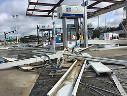 Hurricane Irma damaged this Chevron gas station on the corner of U.S. Highway 441 and Perkins Street in Leesburg, Fla. on Monday, September 11, 2017. Photo by Orlando Sentinel/TNS/ABACAPRESS.COM