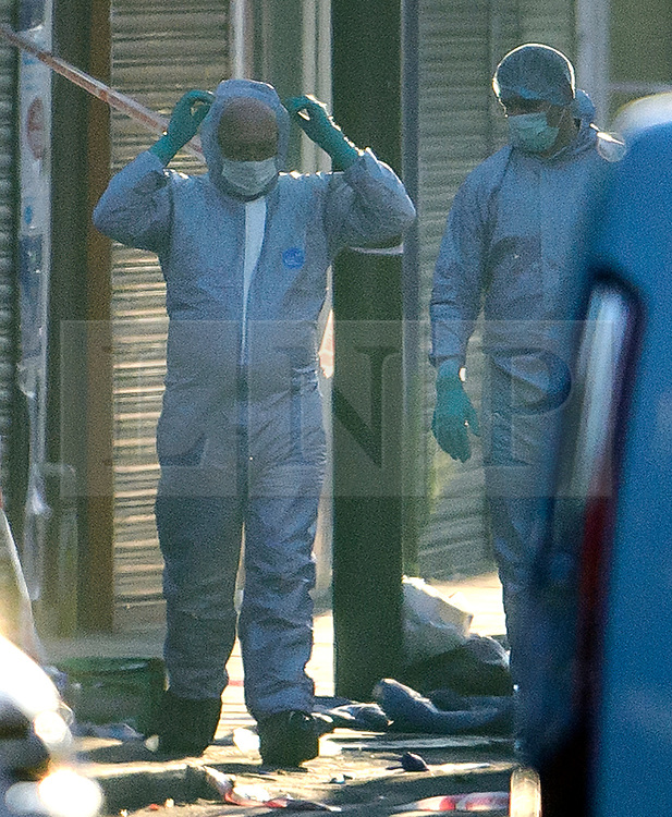 © Licensed to London News Pictures. 19/06/2017. London, UK. Forensics at the scene at Finsbury Park in north London where a van ploughed into a crowd outside Finsbury Park Mosque, as they finished taraweeh, Ramadan evening prayers. Two people are reported to be dead. Photo credit: Ben Cawthra/LNP