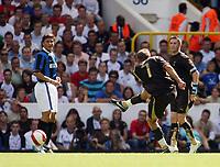 Photo: Chris Ratcliffe.<br /> Tottenham Hotspur v Inter Milan. Pre Season Friendly. 28/07/2006.<br /> Teemu Tainio of Spurs (R) scores the openin goal of the game.