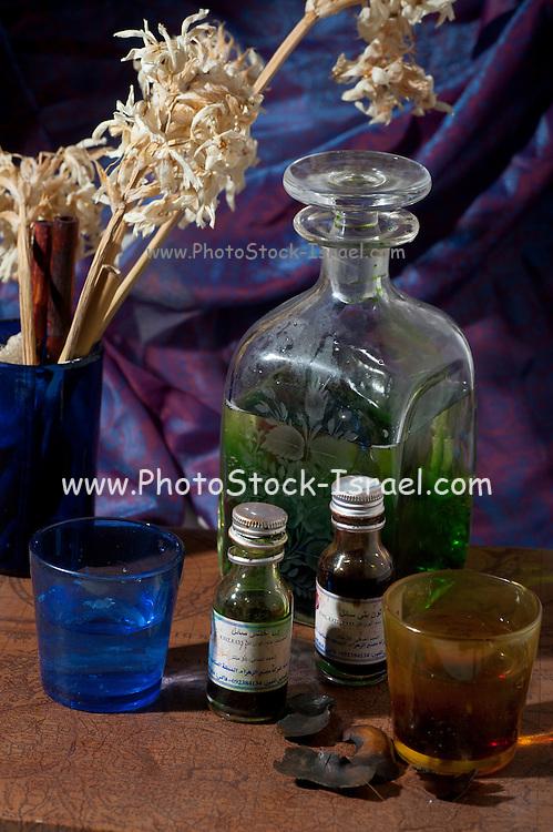 Middle eastern Still life Bottles of perfume essence
