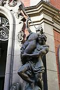 Riga, Latvia Statues On Facade Of Old Cinema Building In Elizabetes Street.