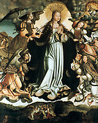 Assumption of the Virgin': Workshop of the Master of Sardoal, Portuagal, 16th century. Angels carry the Virgin Mary up to Heaven. Centre foreground, mourners kneel round her empty tomb, looking upwards.