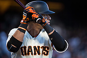 San Francisco Giants left fielder Gorkys Hernandez (66) bats against the Pittsburgh Pirates at AT&T Park in San Francisco, California, on July 25, 2017. (Stan Olszewski/Special to S.F. Examiner)