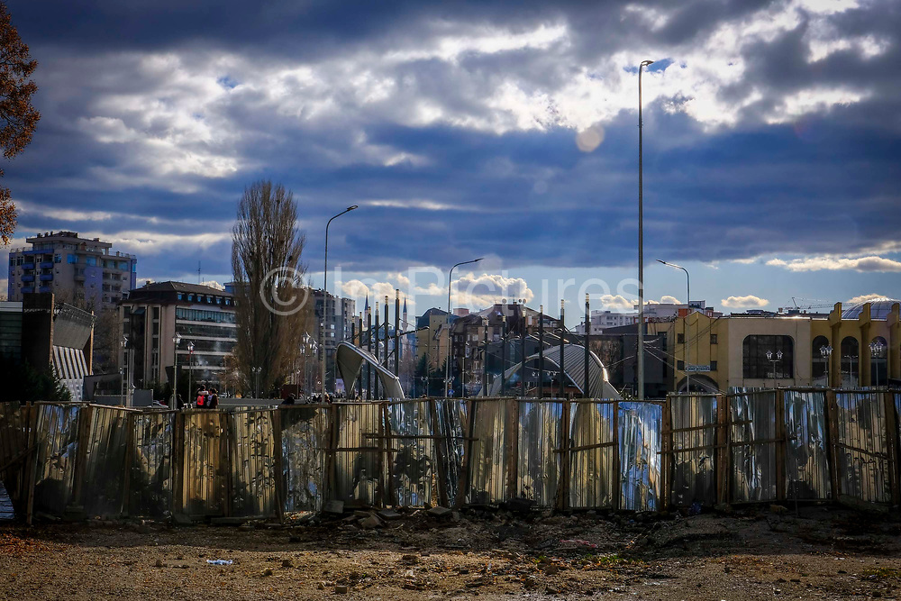 The makeshift boarder fence on the Serbian side north side of the Mitrovica bridge, over the river Ibar which separates the Serbian and Albanian districts of Mitrovica, Kosovo on the 12th of December 2018. The bridge was rebuilt with funding from the EU. Mitrovica or Kosovska Mitrovica is a city and municipality located in Kosovo. Settled on the banks of Ibar and Sitnica rivers, the city is the administrative center of the Mitrovica District.