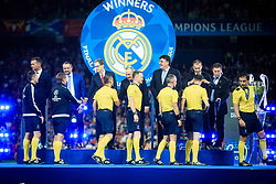 Referee Milorad Mazic and other referees receive their medals after the UEFA Champions League final between Real Madrid and Liverpool at NSC Olimpiyskiy Stadium on May 26, 2018 in Kiev, Ukraine. Photo by Sandi Fiser / Sportida