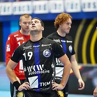 15.10.2020, Klingenhalle, Solingen,  GER, 1. HBL. Herren, Bergischer HC vs. HSG Wetzlar, <br /><br />im Bild / picture shows: <br />nach dem Spiel traurig und enttaeucht Tomas Babak (BHC #19), Lukas Stutzke (BHC #39),   Max Darj (BHC #5), <br /><br /><br />Foto © nordphoto / Meuter