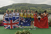 Brive, FRANCE, left,  Silver medalist  GBR JW4-, Bow Amber ANDERSON, Olivia CARNEGIE-BROWN, Caragh MCMURTRY and Brianna STUBBS.   Junior Women's Four  at 'Lac du Causse', venue for the 2009 FISA Junior World Rowing Championships,  Brive La GAILLARDE. Saturday  08/08/2009 [Mandatory Credit. Peter Spurrier/Intersport Images]
