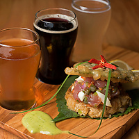 Wrightsville Beach Brewery -<br /> <br /> Tuna Tar Tar<br /> <br /> Local tuna, capers, red pepper flakes, onions, red & green pepper, tempura shies, fresh shies, russian chestnut sauce