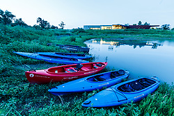 Kayaks and Trinity River Audubon Center, Great Trinity Forest, Dallas, Texas, USA