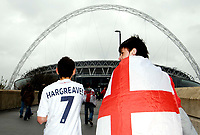 Photo: Alan Crowhurst.<br />England U21 v Italy U21. International Friendly. 24/03/2007. England fans make their way to the stadium.