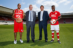 Greg Streete of Bristol Flyers Basketball, RSG CEO Mike Beesley, Bristol Sport CEO Andrew Billingham and Bristol City footballer Kieran Agard - Photo mandatory by-line: Rogan Thomson/JMP - 07966 386802 - 09/07/2015 - SPORT - Bristol, England - Ashton Gate Stadium - Bristol Sport Preseason Sponsor Photos.
